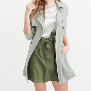 Abercrombie Mint Drapey Trench Coat